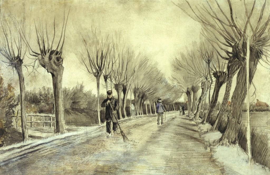 Road in Etten. 1881. Chalk, pencil, pastel, watercolor, 15 1/2 x 22 3/4 in. (39.4 x 57.8 cm). Robert Lehman Collection, 1975 (1975.1.774).